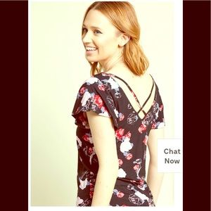ModCloth Floral Strappy Back Short Sleeve Blouse